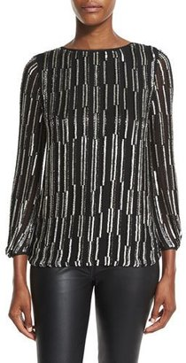 Diane von Furstenberg Evvy Sequined Tie-Back Silk Blouse, Black/Silver/Black $568 thestylecure.com