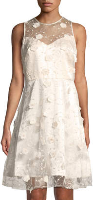 Taylor Floral Applique Embroidered Illusion Dress