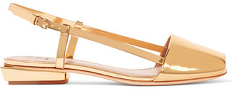 Tory Burch - Pietra Mirrored-leather Sandals - Gold $325 thestylecure.com
