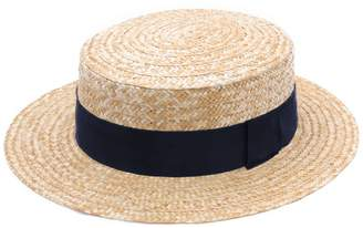 Classic Italy Guinguette Pork Pie Boater Straw Hat Size 51 cm
