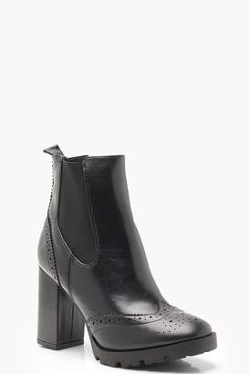 boohoo Punch Work Platform Cleated Chelsea Boots