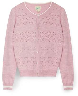 Yumi Girl - Pink Heart Stitched Cardigan