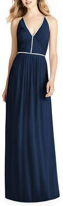 Jenny Packham Bridesmaids V-Neck Sleeveless Cross-Back Luxe Chiffon Gown Bridesmaid Dress