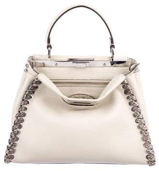 Fendi Selleria Snakeskin Whipstitch Peekaboo Bag