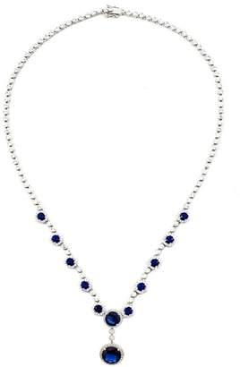 Savvy Cie Sterling Silver Lab Sapphire & CZ Halo Riviera Statement Necklace