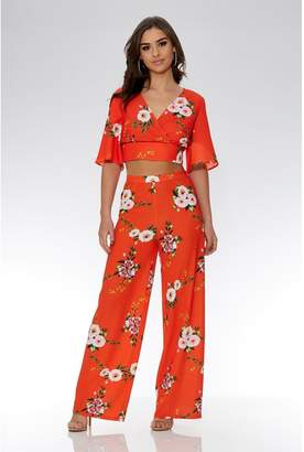 Quiz Orange And White Floral Palazzo Trousers