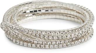 Cezanne Set of 7 Silvertone Crystal Bracelets