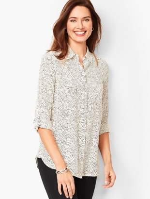 Talbots Washable-Silk Button-Down Shirt - Dab Dot