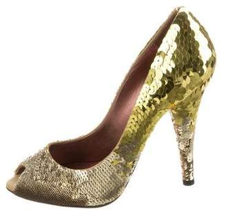 Miu Miu Sequined Peep-Toe Pumps