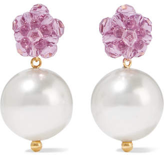 Simone Rocha Gold-tone, Bead And Faux Pearl Earrings - Lilac