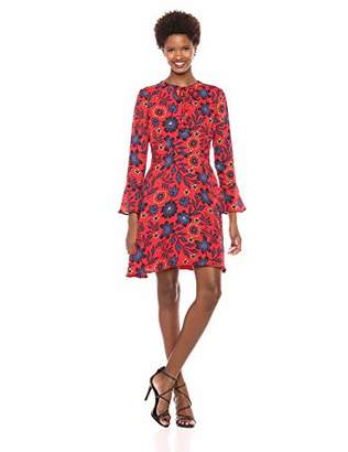 ECI New York Women's Long Sleeve Chiffon Retro Floral fit and Flare Dress