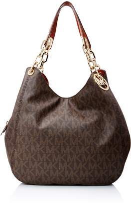 Michael Kors Brown PVC Fulton Large Signature Shoulder Bag Purse $398