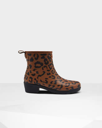 Hunter Women's Original Leopard Print Refined Low Heel Ankle Boots