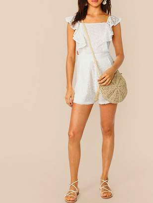 2d8101b4f3df Shein Crisscross Backless Eyelet Embroidered Ruffle Romper