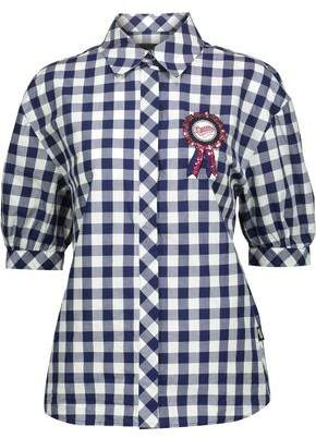 Love Moschino Appliquéd Gingham Cotton Blouse