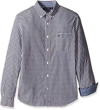 Nautica Men's Long Sleeve Classic Fit Small Plaid Button Front Shirt