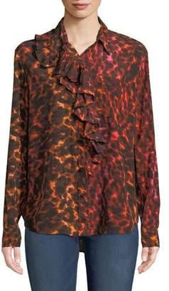 Stella McCartney Ruffle-Placket Neon Animal-Print Silk Blouse