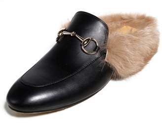 AIWEIYi Women Real Fur Shoes Genuine Leather Womens Slipper Flats Female Casual Slip On Loafer