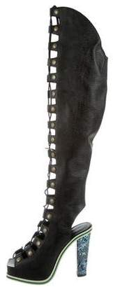 Rodarte Embossed Lace-Up Boots w/ Tags