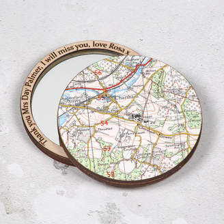 Bombus Personalised Map Compact Pocket Mirror Teachers Gift