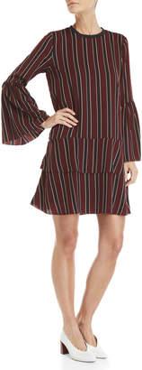 Norr Bordeaux Tara Stripe Bell Sleeve Dress