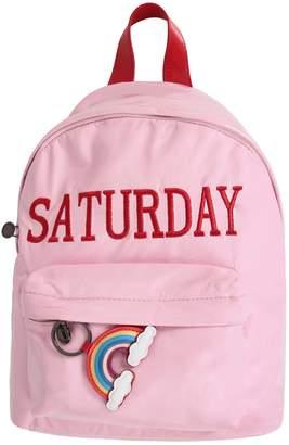 Alberta Ferretti Pink Girl Backpack With Red Writing