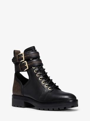 MICHAEL Michael Kors Bensen Logo and Leather Combat Boot