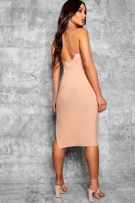 boohoo Strappy Cross Back Thigh Split Midi Dress