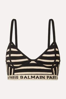 60d252aa5f Balmain Metallic Intarsia-trimmed Striped Stretch-knit Bralette - Black