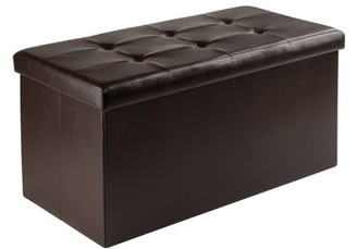 Winsome Wood Ashford Ottoman with Storage, Espresso Faux Leather