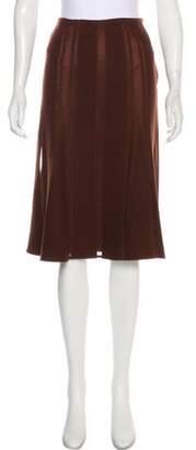 Alberta Ferretti Wool Godet Skirt Brown Wool Godet Skirt