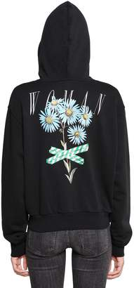 Off-White Floral Hooded Zip-Up Jersey Sweatshirt