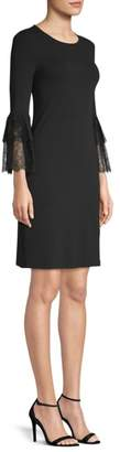 Michael Kors Lace Bell Sleeve Jersey Cocktail Dress