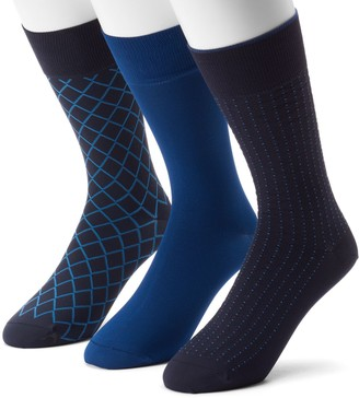 Marc Anthony Men's 3-pack Diamond & Solid Microfiber Dress Socks