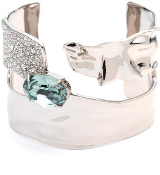 Alexis Bittar Crystal Encrusted Crumpled Solitaire Cuff Bracelet