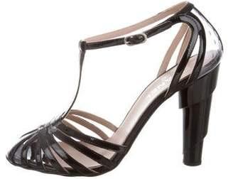 Chanel Patent T-Strap Sandals