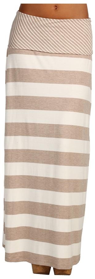 Calvin Klein Striped Maxi Skirt (Dark Khaki/Eggshell) - Apparel