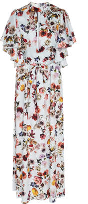 Monique Lhuillier Floral-Print Chiffon Midi Dress