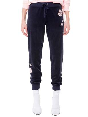 Juicy Couture Velour Floral Patches Zuma Pant