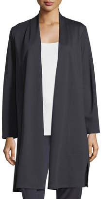 Eileen Fisher Long Double-Knit Open Cardigan