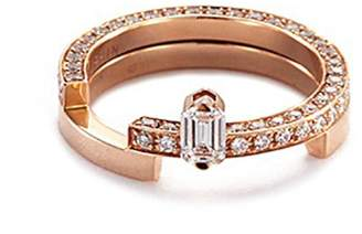 Dauphin 'Disruptive' diamond 18k rose gold two tier ring