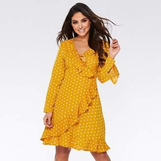 Quiz - Mustard And Cream Polka Dot Frill Knee Length Dress
