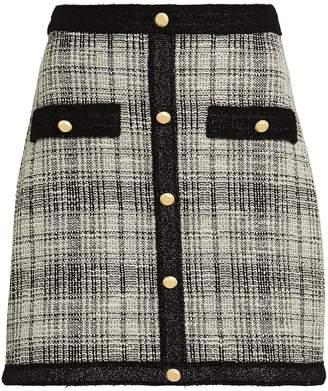 Saylor Claye Plaid Tweed Mini Skirt