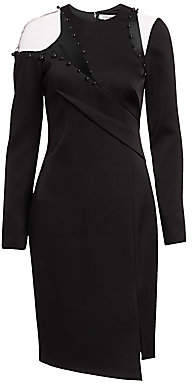 Pamella Roland Women's Asymmetric Illusion Bodycon Dress