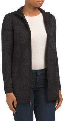 Paisley Mock Neck Cardigan Sweater