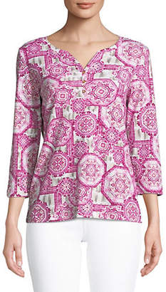 Karen Scott Petite Three Quarter Sleeve Print Henley