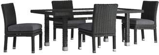 HomeVance Outdoor HomeVance Ravinia Wicker Patio Dinning Table & Armless Chair 5-piece Set