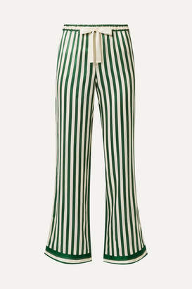 Morgan Lane - Chantal Striped Silk-charmeuse Pajama Pants - Green