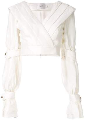 ec51720a1b170 Aje Whelan pleated cropped blouse