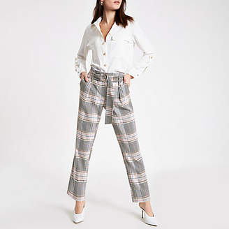 River Island Pink check belted tapered pants